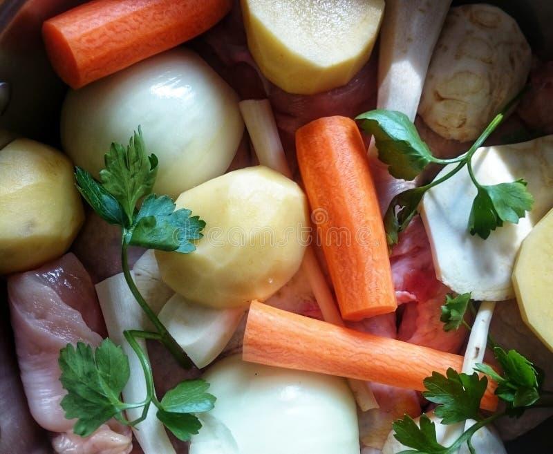 菜和肉准备好鸡汤 免版税库存图片