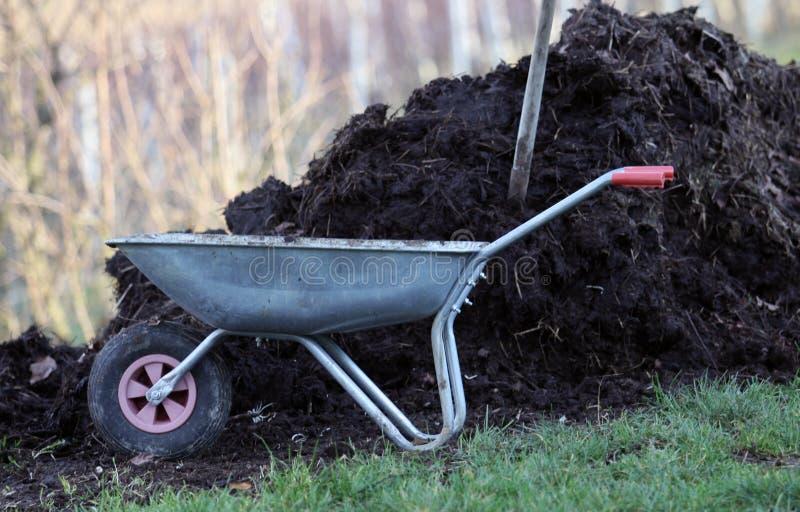菜园的家庭肥料肥料 免版税图库摄影