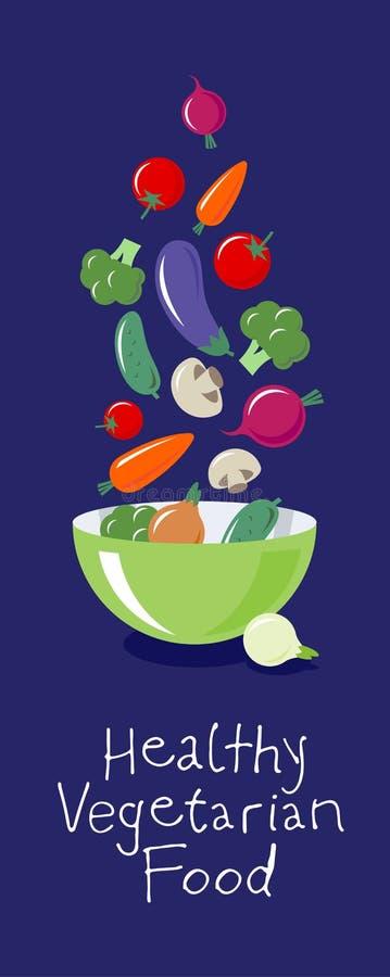 菜平的例证 多彩多姿的菜飞行在一个大色拉盘 素食图片 食物健康有机 皇族释放例证