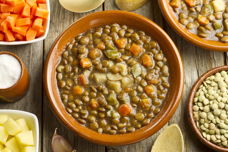 菜扁豆汤 库存图片