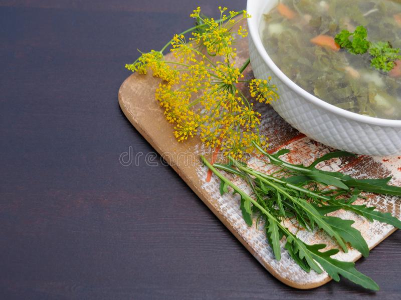 菜汤和绿色 库存照片