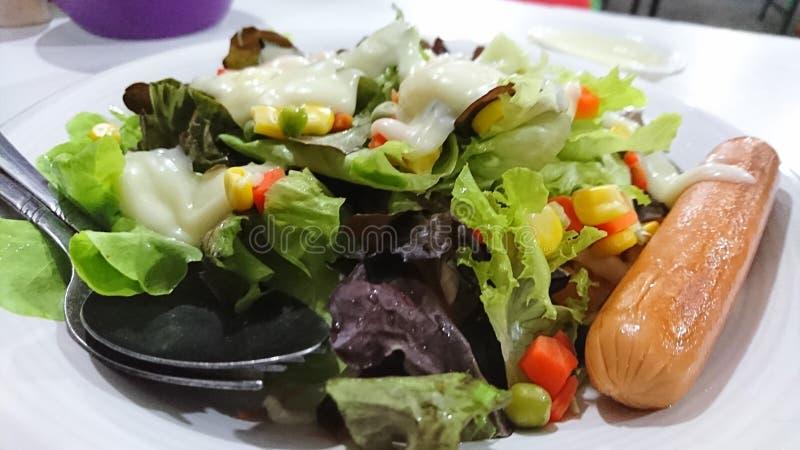 菜沙拉和热狗 库存照片