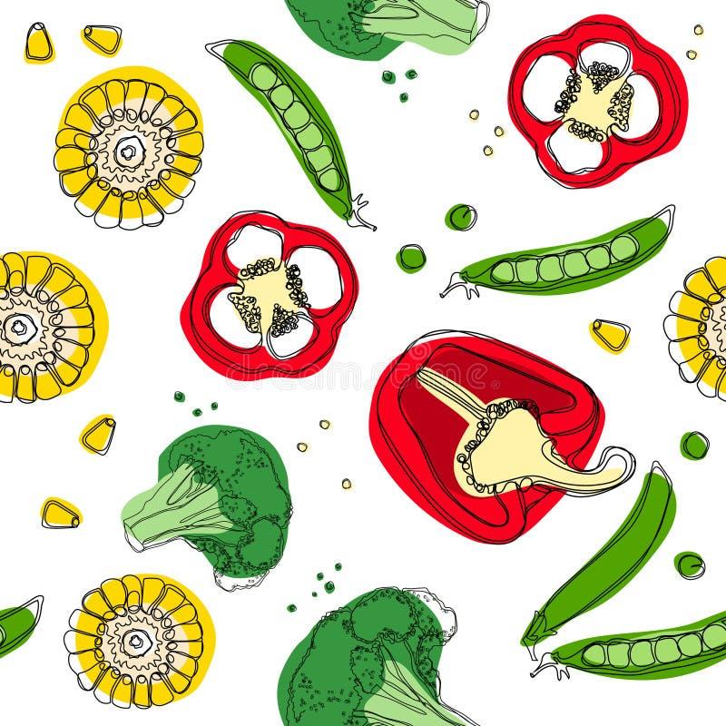 菜混合无缝的样式 玉米,胡椒,硬花甘蓝,豌豆 向量例证