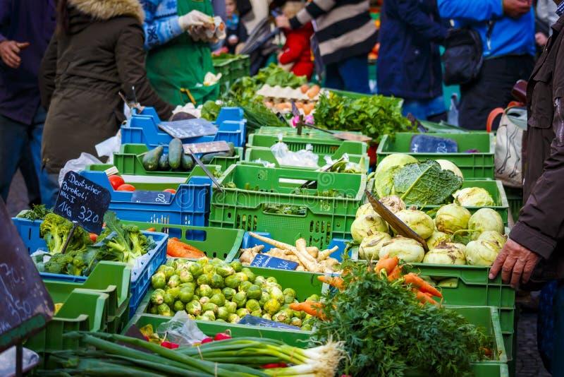 菜的五颜六色的选择在农夫市场上的在美因法 免版税库存照片
