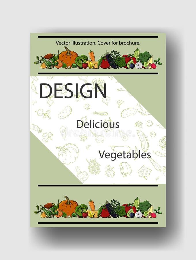 菜的传染媒介例证 小册子的,海报,横幅,明信片盖子模板 库存例证