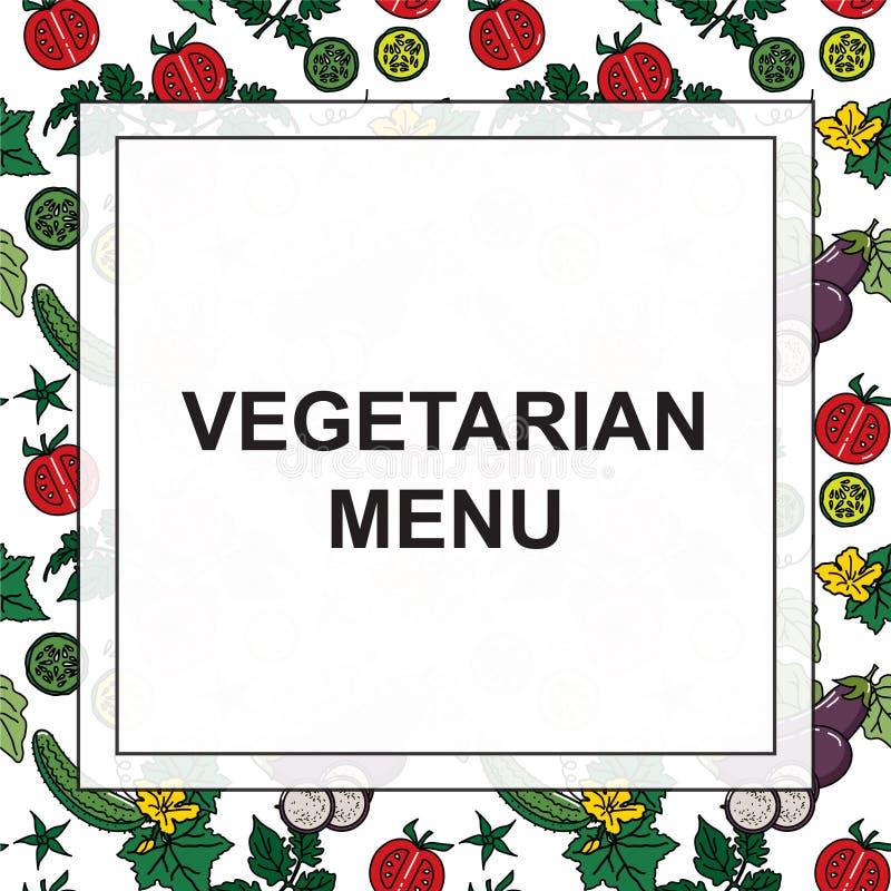 菜的传染媒介图象:茄子、黄瓜、蕃茄素食主义者的和其他菜单 库存例证