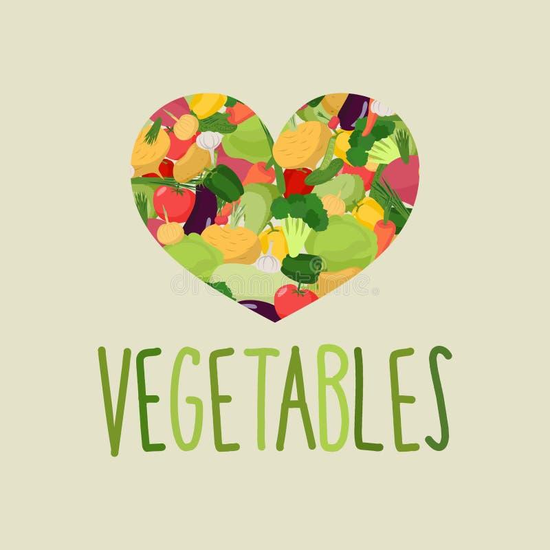 菜的心脏 我爱蔬菜 概念的健康死 库存例证