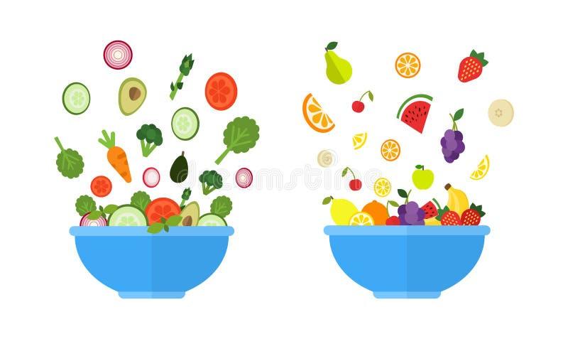 菜碗 水果钵 与新鲜蔬菜和果子的沙拉在蓝色碗 在平的样式的有机食品概念 皇族释放例证