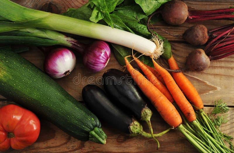 菜设置了-韭葱,葱,夏南瓜,茄子,红萝卜, toma 免版税库存照片