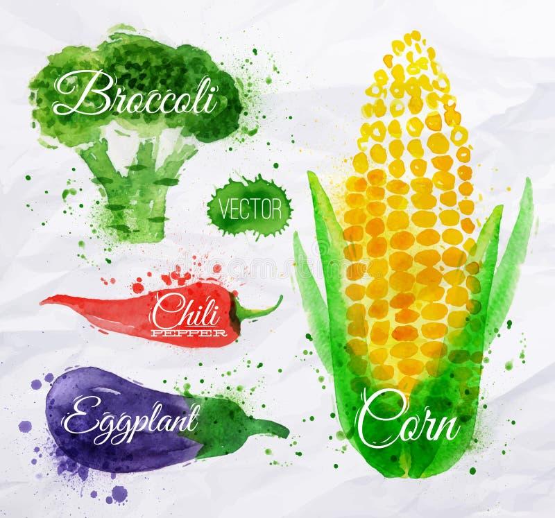 菜水彩玉米,硬花甘蓝,辣椒, 向量例证