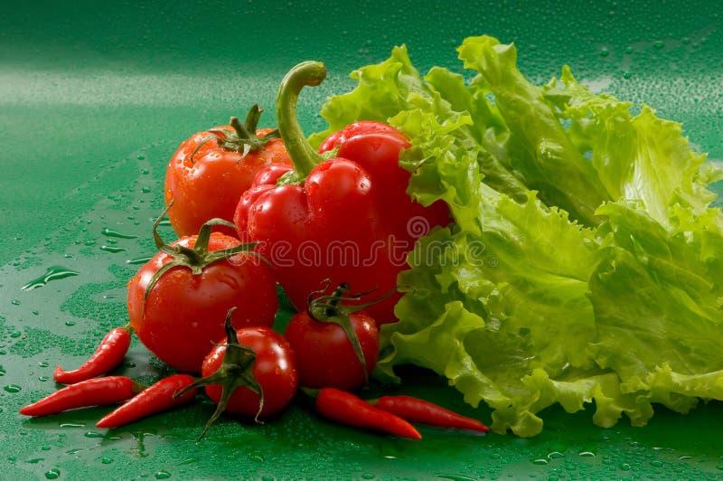 菜-蕃茄,炽热辣椒,甜椒静物画  免版税库存图片