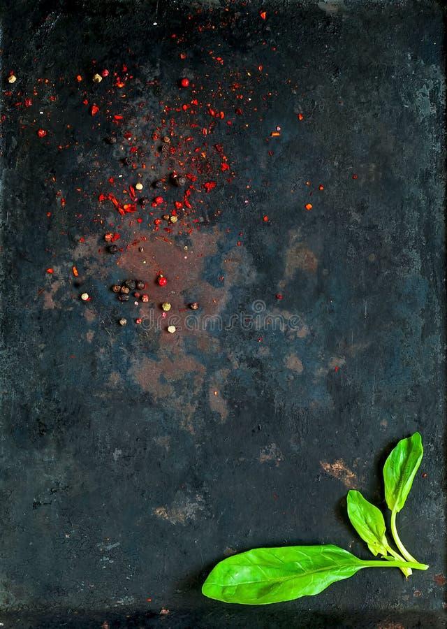 菠菜和香料,在老生锈的金属黑暗的葡萄酒背景,顶视图的各种各样的素食成份 健康的食物 免版税库存照片