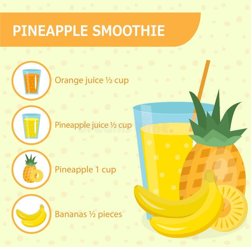 菠萝与成份的圆滑的人食谱 向量例证