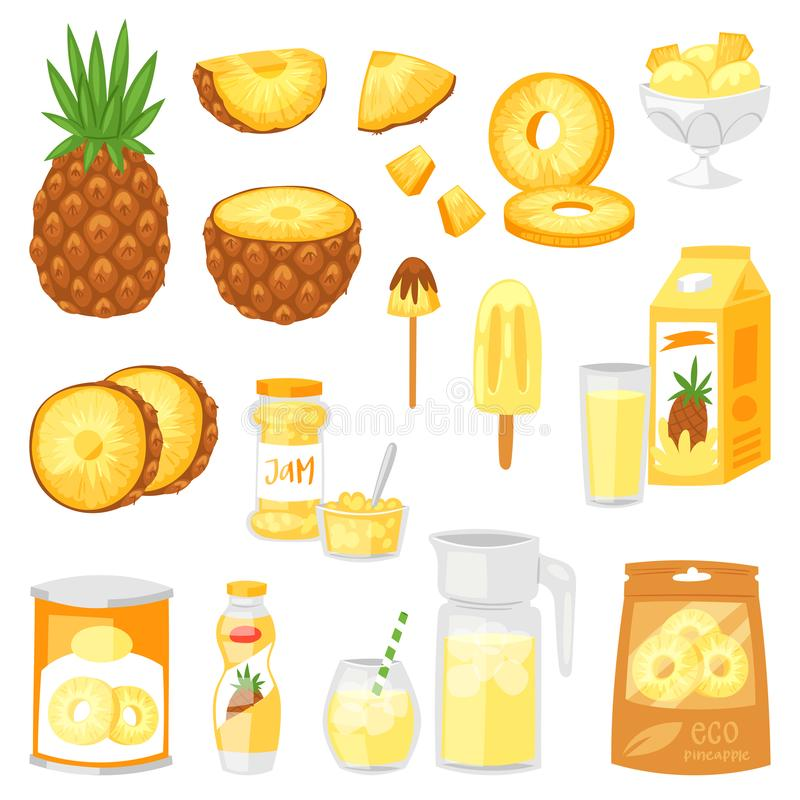 菠萝传染媒介新鲜的健康菠萝黄色自然汁果酱冰淇凌和酸奶例证水果的套  向量例证