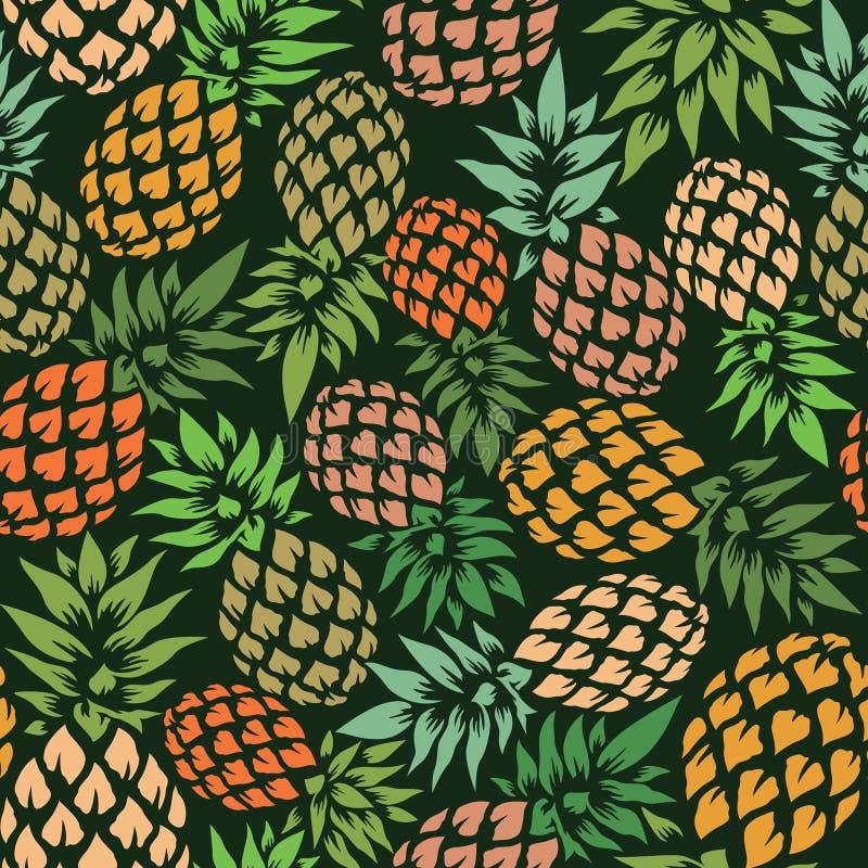 菠萝传染媒介背景 夏天五颜六色的热带纺织品印刷品 向量例证