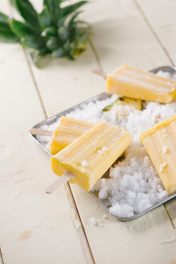 菠萝冻水果食物冰棍儿 r 库存图片
