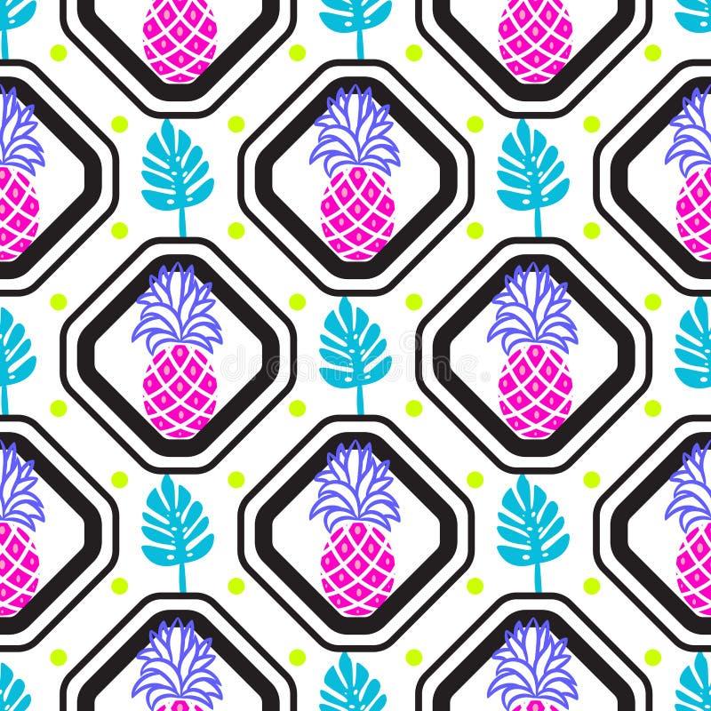 菠萝和叶子在菱形几何瓦片样式 库存例证