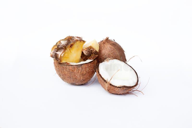 菠萝和椰子在白色背景 库存图片
