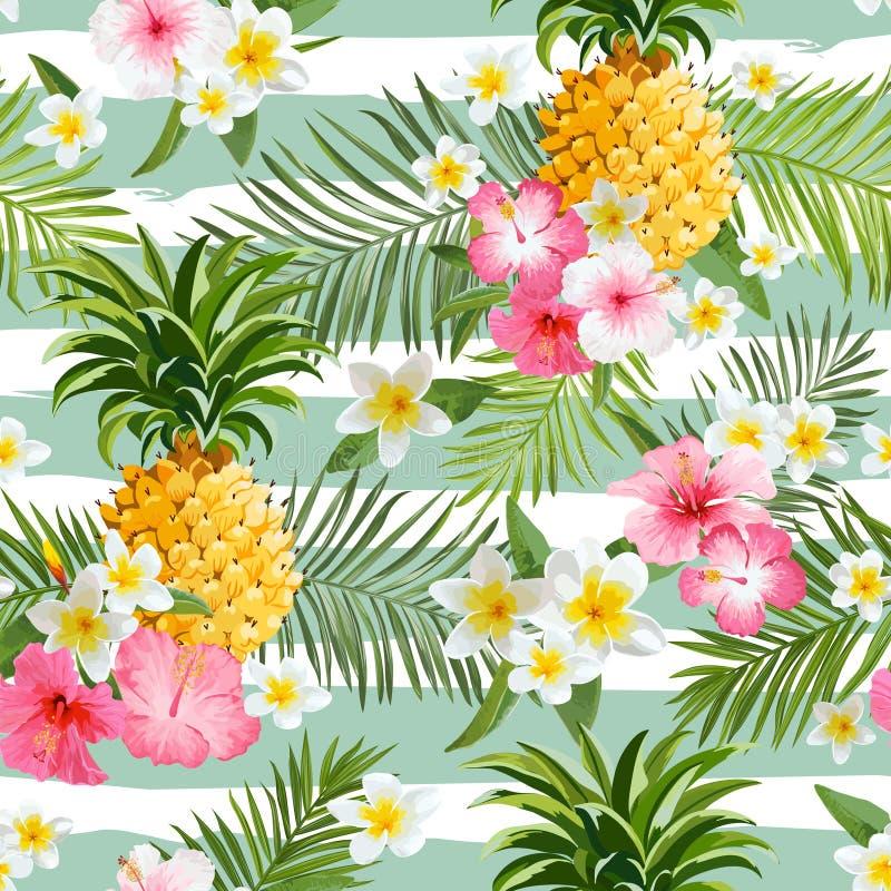 菠萝和热带花几何背景 皇族释放例证