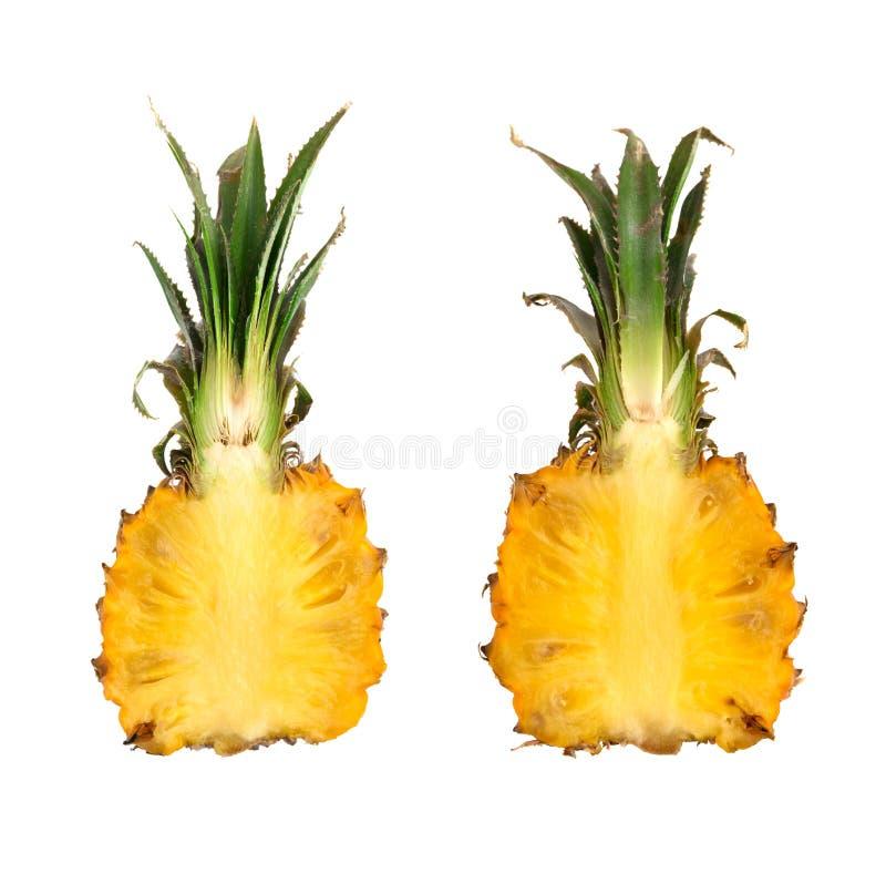 菠萝在白色背景切成了两半 图库摄影
