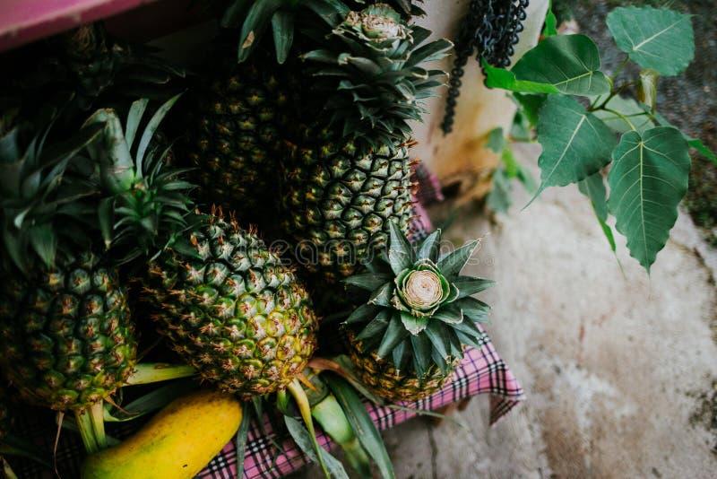 菠萝新鲜水果立场市场 库存照片