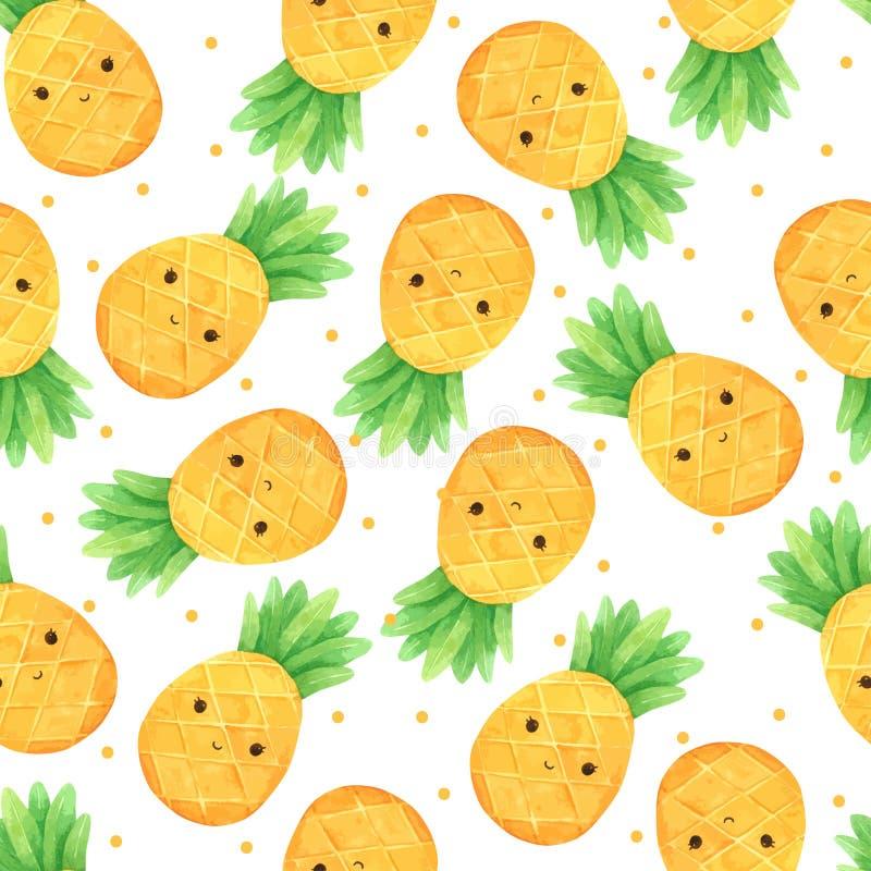 菠萝无缝的样式动画片手画在水彩 皇族释放例证