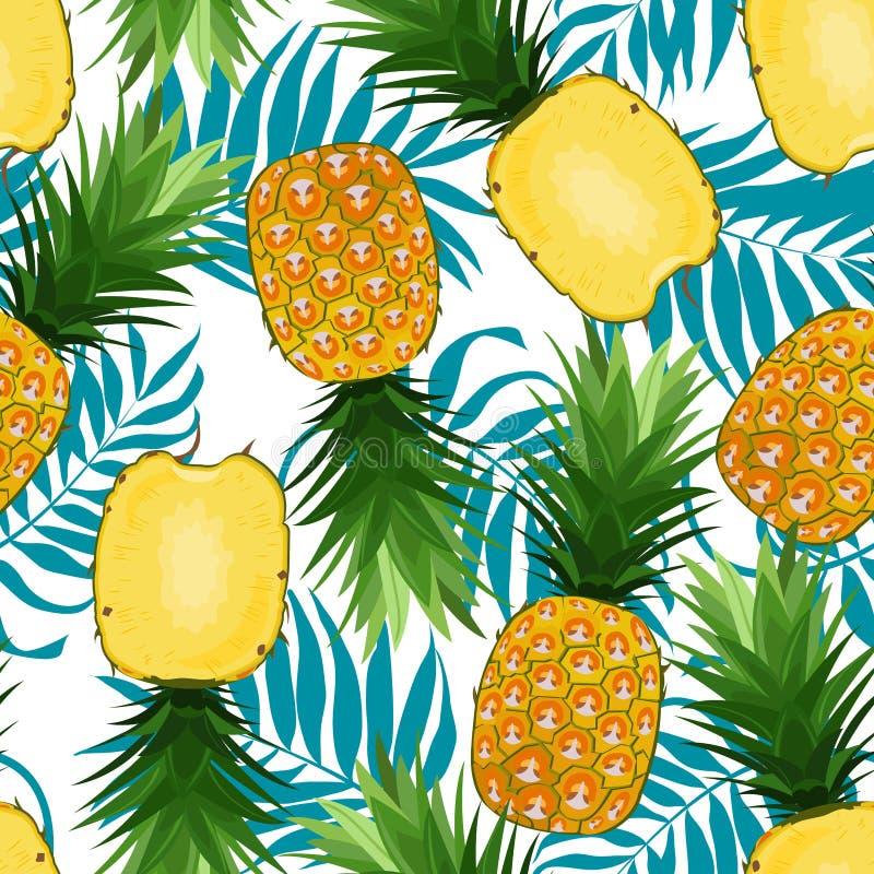 菠萝无缝的样式整体和在与棕榈叶的纵切面在白色背景 o 向量例证