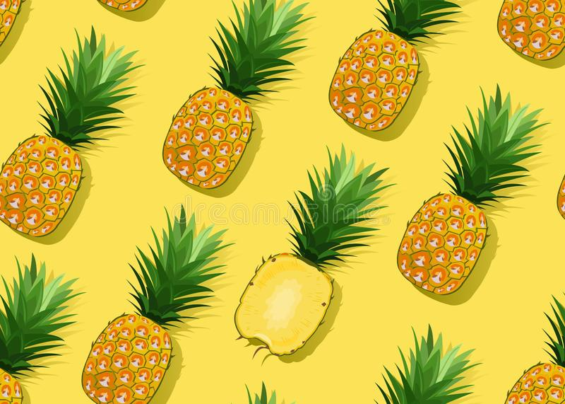菠萝无缝的样式整体和在关于黄色背景的纵切面 o 凤梨果子 向量例证