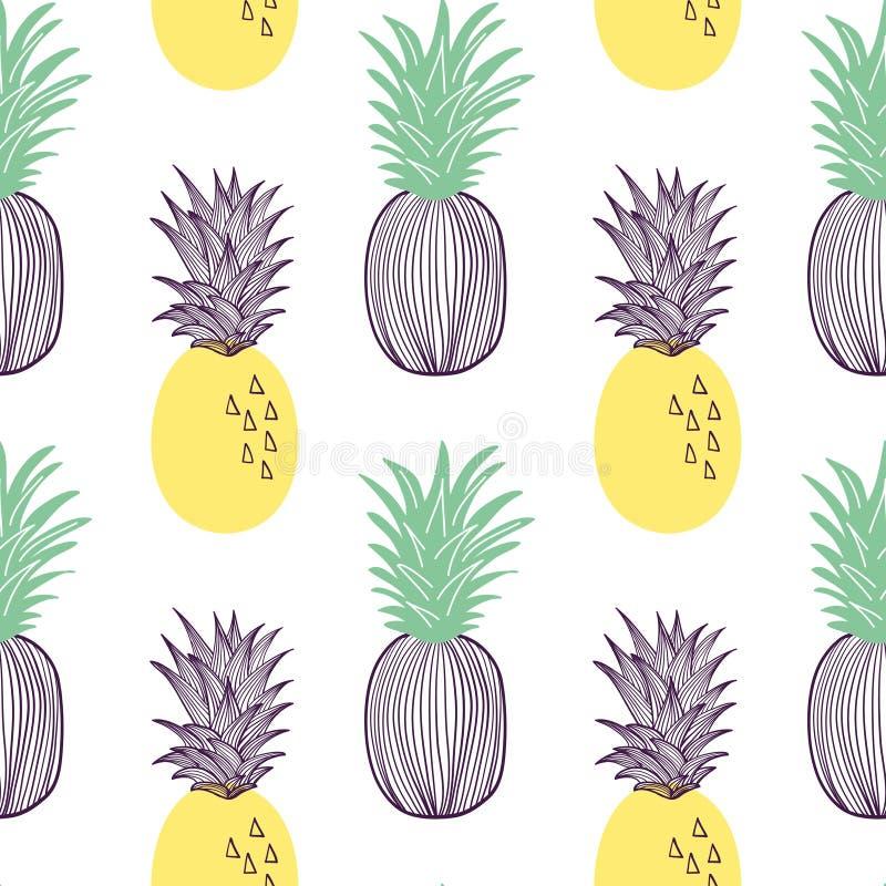 菠萝的无缝的样式 热带的果子和的切片exitix 在现代时髦平的样式设置的传染媒介手拉的例证 向量例证