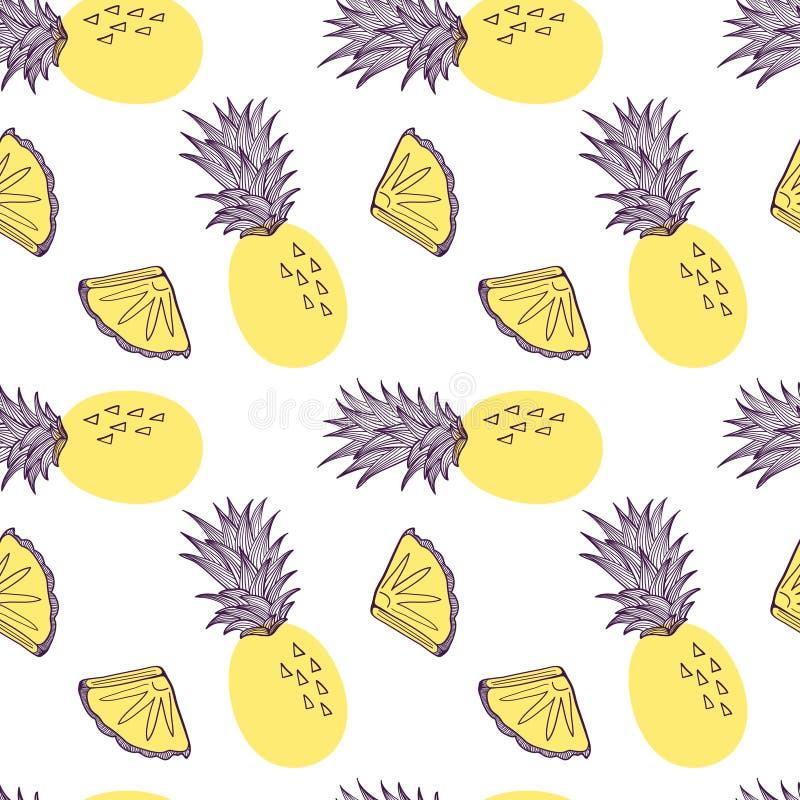 菠萝的无缝的样式 热带的果子和的切片exitix 在现代时髦设置的传染媒介手拉的例证 皇族释放例证