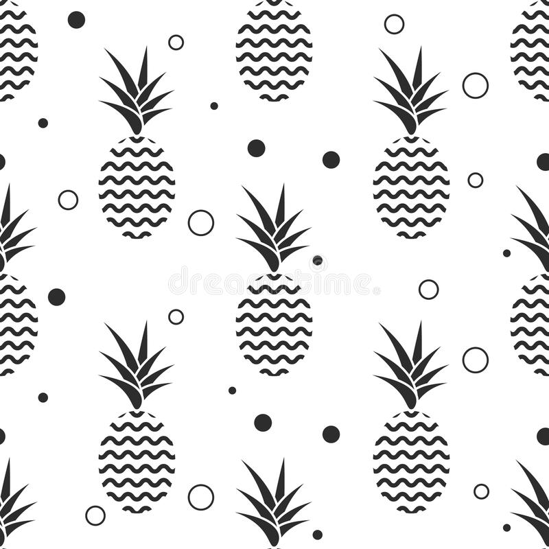 菠萝简单的vetor无缝的背景 纺织品样式 库存例证
