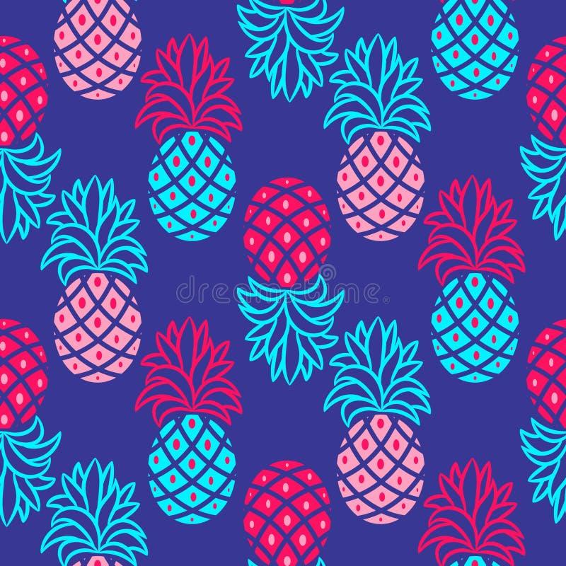 菠萝蓝色和桃红色明亮的无缝的传染媒介样式 皇族释放例证
