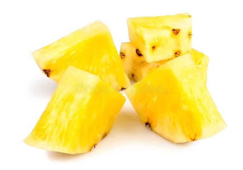 菠萝被剥皮的大块 库存照片