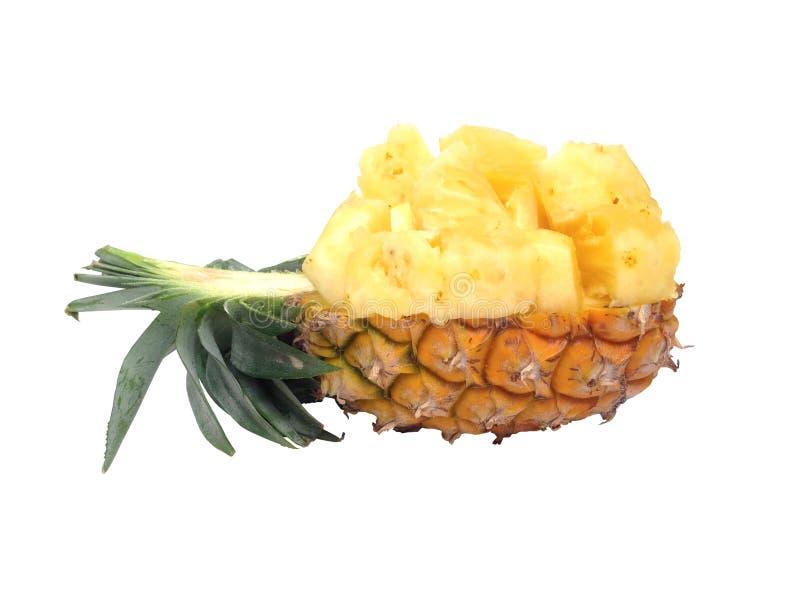 菠萝裁减半在白色背景 库存图片