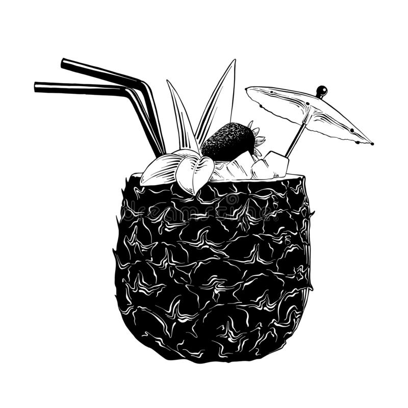 菠萝鸡尾酒手拉的剪影在白色背景在黑色的隔绝的 详细的葡萄酒蚀刻样式图画 向量例证