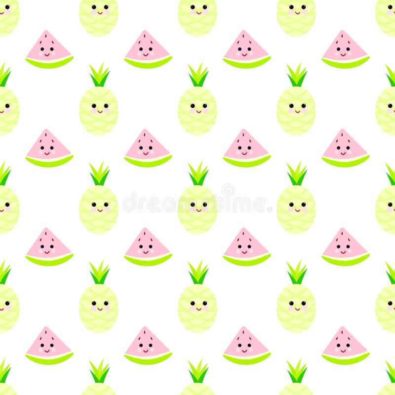 菠萝, watermeloncartoon无缝的纯稚样式 皇族释放例证