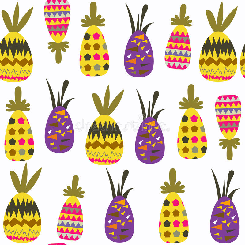 菠萝幻想无缝的样式 它位于样片菜单,图象 设计的逗人喜爱的瓦片背景 抽象回归线 向量例证