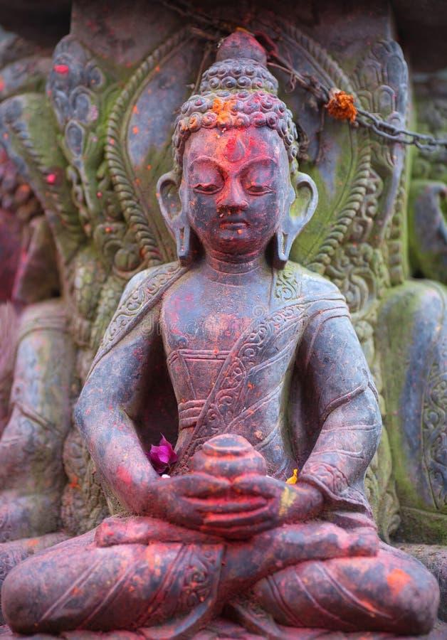 菩萨古老雕象寺庙的在Bhaktapur,加德满都v 图库摄影