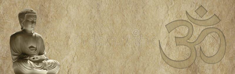 菩萨和Om双重结束的网站横幅 库存照片