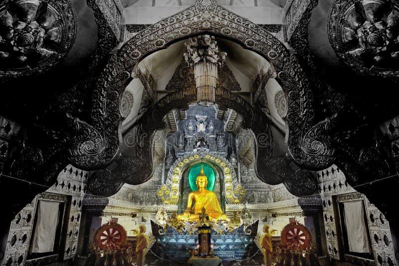 菩萨图象在Wat的Si素攀武里,泰国银色大厅里 库存图片