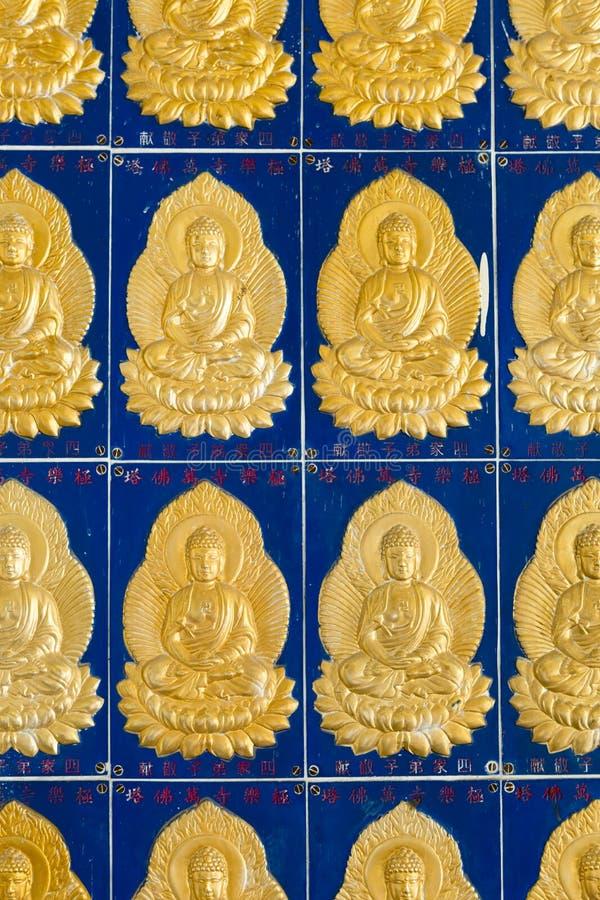 菩萨墙壁瓦片Kek Lok Si寺庙槟榔岛马来西亚 免版税库存照片