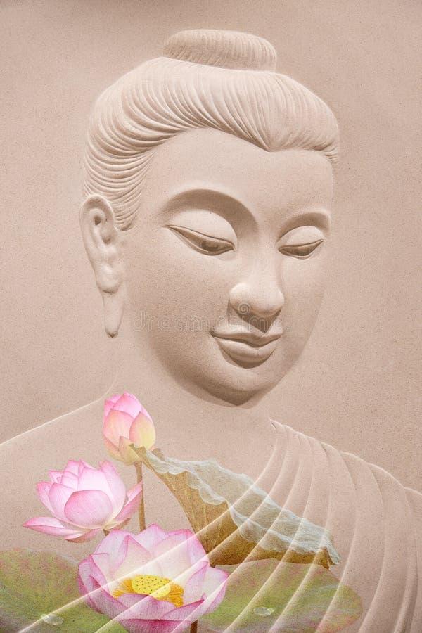 菩萨木雕刻 库存图片