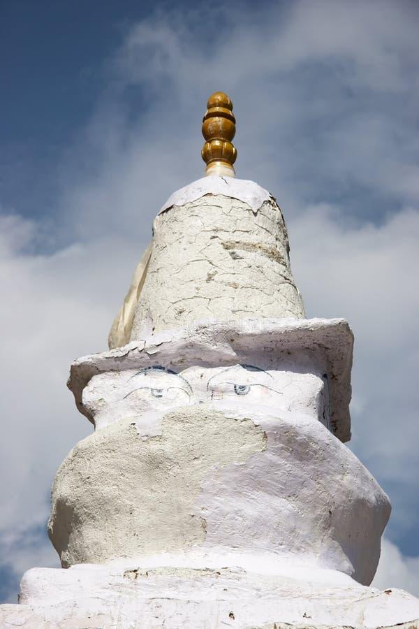 菩萨注视尼泊尔老stupa藏语 库存照片