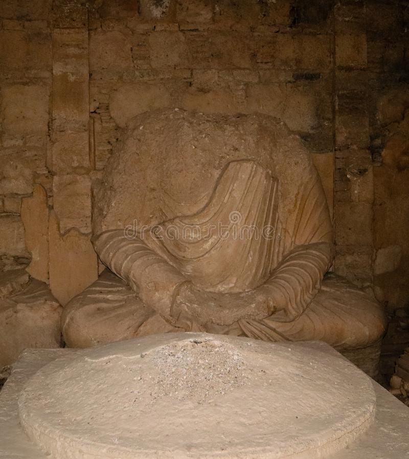 菩萨的雕象Jaulian的破坏了佛教徒修道院,哈里普尔,巴基斯坦 联合国科教文组织世界遗产名录站点 库存图片