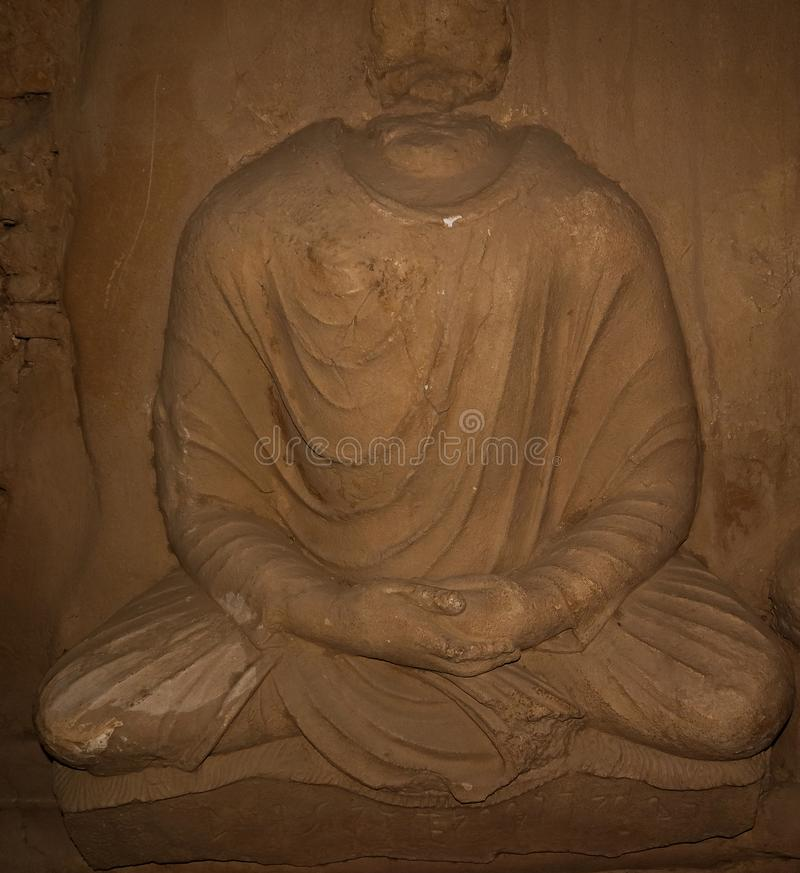 菩萨的雕象Jaulian的破坏了佛教徒修道院,哈里普尔,巴基斯坦 联合国科教文组织世界遗产名录站点 图库摄影