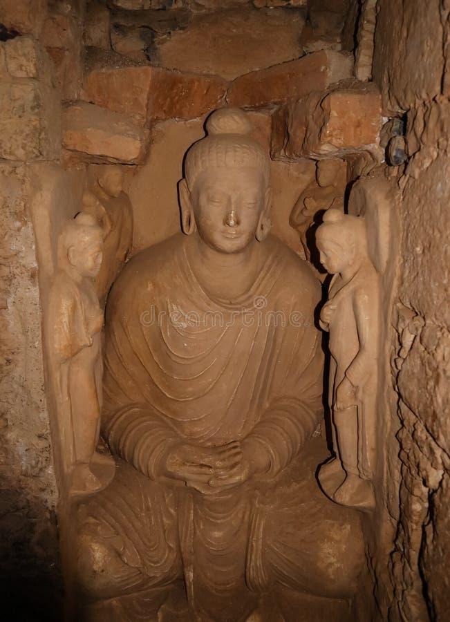 菩萨的雕象Jaulian的破坏了佛教徒修道院,哈里普尔,巴基斯坦 联合国科教文组织世界遗产名录站点 库存照片