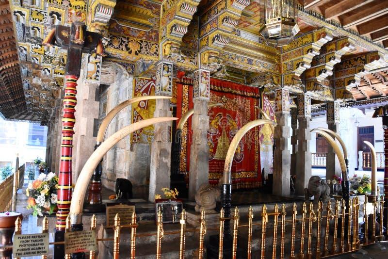 菩萨神圣的牙遗物的寺庙在康提,斯里兰卡 免版税库存图片
