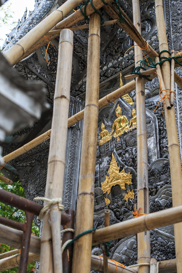 菩萨银色艺术雕塑在泰国 图库摄影