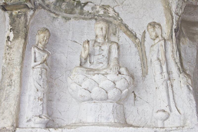 菩萨雕刻了岩石 库存图片