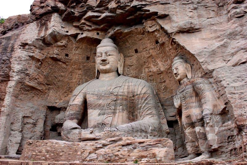 菩萨雕象在云冈洞穴,大同,中国 免版税库存图片